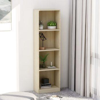 Knjižna omara 4-nadstropna sonoma hrast 40x24x142 cm iverna pl.