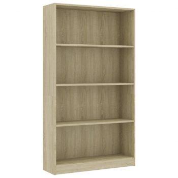 Knjižna omara 4-nadstropna sonoma hrast 80x24x142 cm iverna pl.