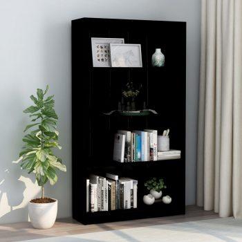 Knjižna omara 4-nadstropna visok sijaj črna 80x24x142 cm