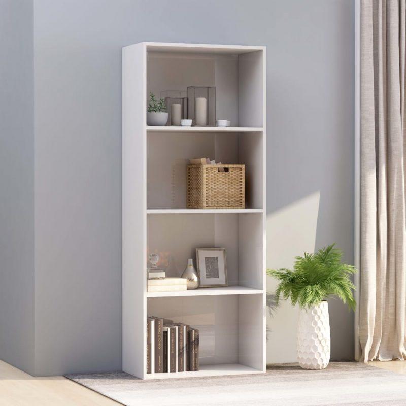 Knjižna omara 4-nadstropna visok sijaj bela 60x30x151