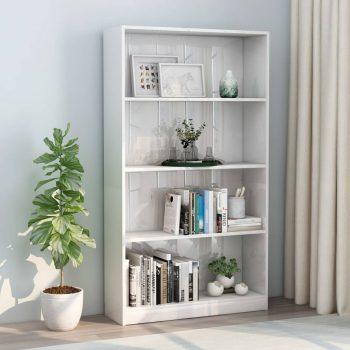 Knjižna omara 4-nadstropna visok sijaj bela 80x24x142 cm