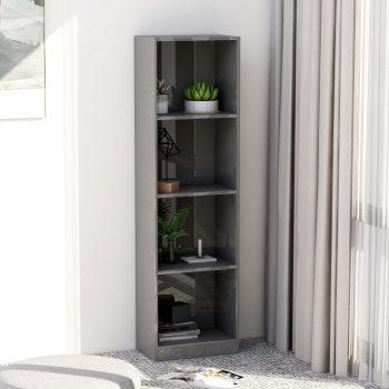 Knjižna omara 4-nadstropna visok sijaj siva 40x24x142 cm