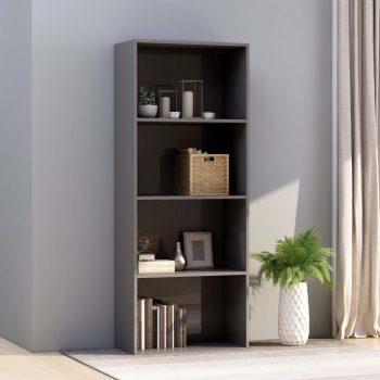 Knjižna omara 4-nadstropna visok sijaj siva 60x30x151