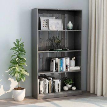 Knjižna omara 4-nadstropna visok sijaj siva 80x24x142 cm