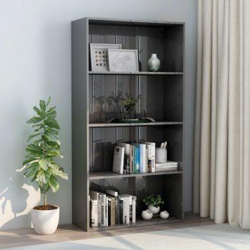 Knjižna omara 4-nadstropna visok sijaj siva 80x30x151
