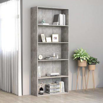 Knjižna omara 5-nadstropna betonsko siva 80x30x189 cm