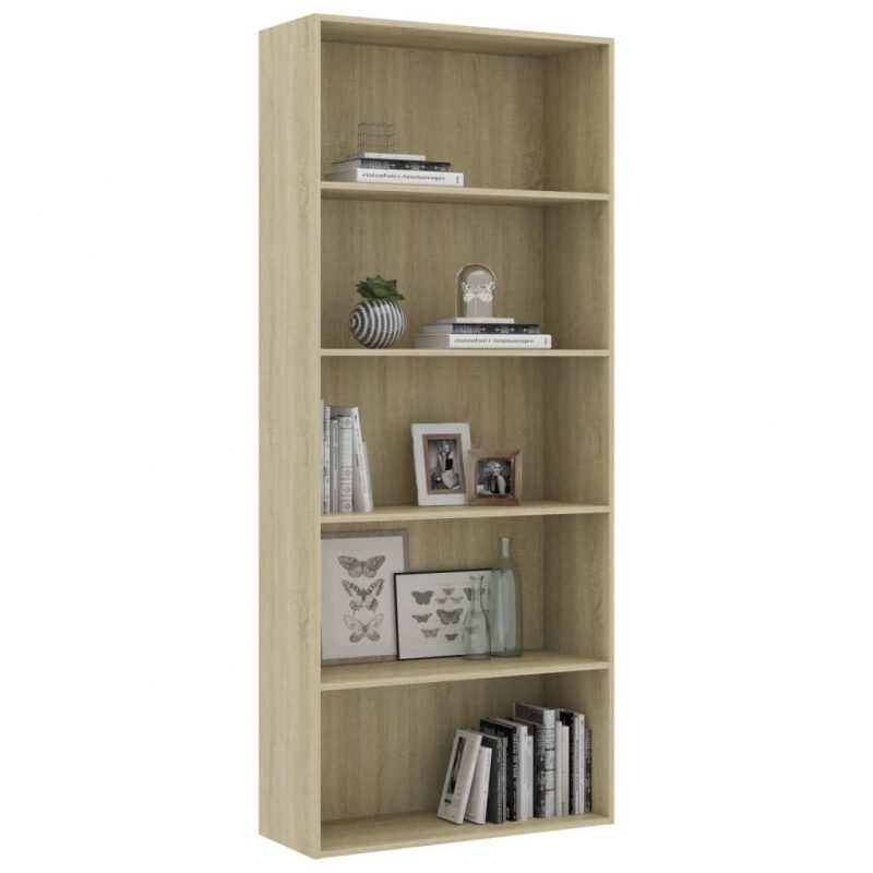 Knjižna omara 5-nadstropna sonoma hrast 80x30x189 cm