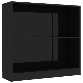 Knjižna polica visok sijaj črna 80x24x75 cm iverna plošča