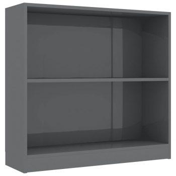Knjižna polica visok sijaj siva 80x24x75 cm iverna plošča