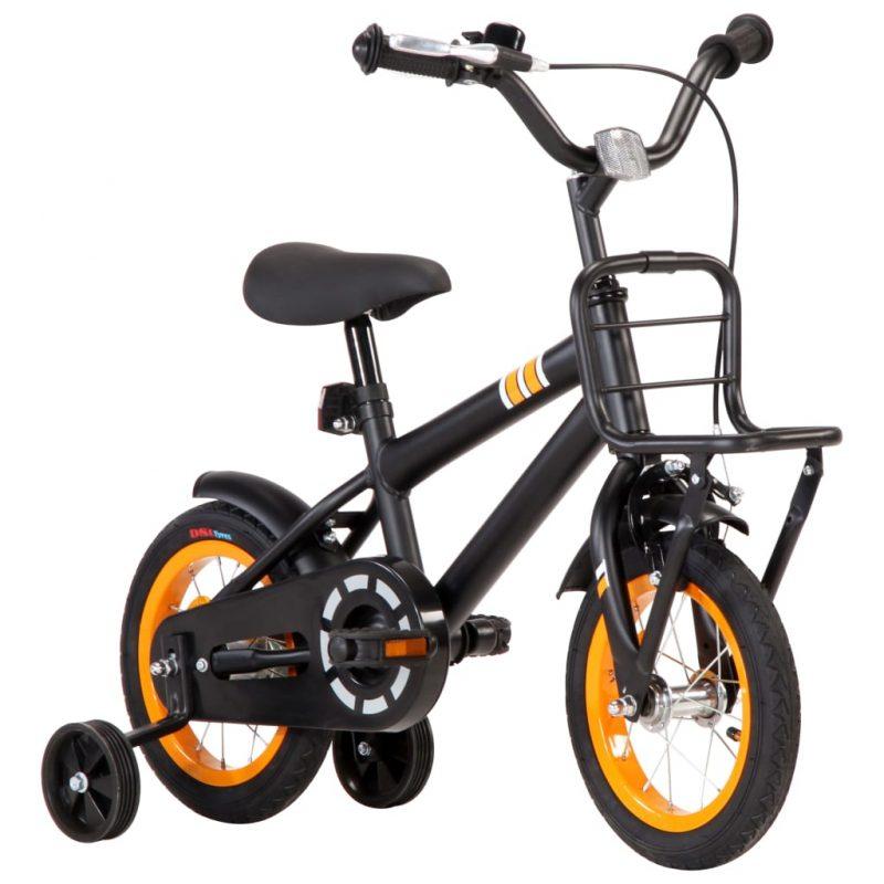 """Otroško kolo s prednjim prtljažnikom 12"""" črno in oranžno"""