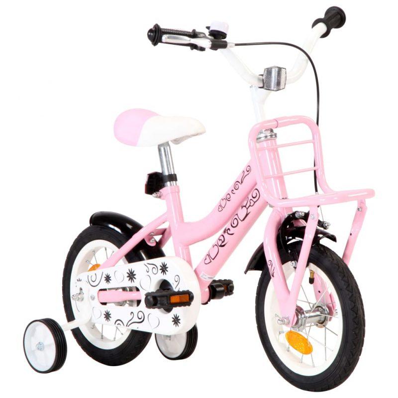"""Otroško kolo s prednjim prtljažnikom 12"""" belo in roza"""