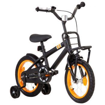 """Otroško kolo s prednjim prtljažnikom 14"""" črno in oranžno"""