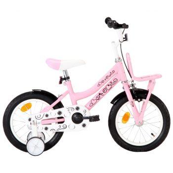 """Otroško kolo s prednjim prtljažnikom 14"""" belo in roza"""