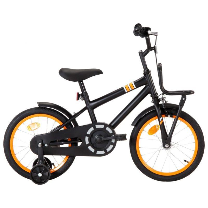 """Otroško kolo s prednjim prtljažnikom 16"""" črno in oranžno"""