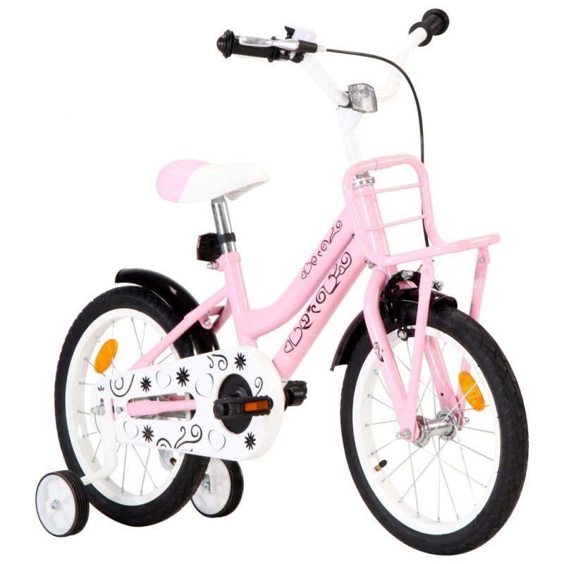 """Otroško kolo s prednjim prtljažnikom 16"""" belo in roza"""