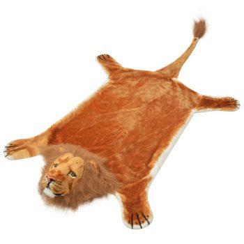 Plišasta preproga lev 205 cm rjave barve