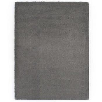 Preproga 120x160 cm umetno zajčje krzno temno siva