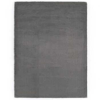 Preproga 140x200 cm umetno zajčje krzno temno siva