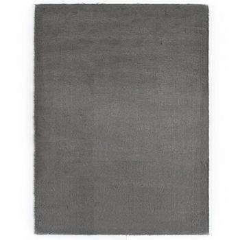 Preproga 160x230 cm umetno zajčje krzno temno siva
