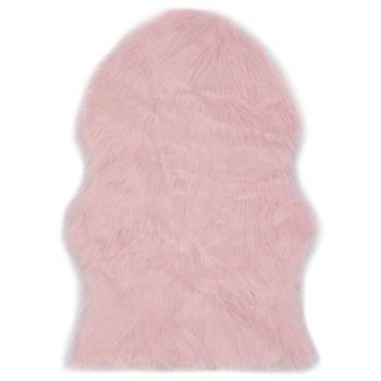 Preproga 60x90 cm umetna ovčja koža roza
