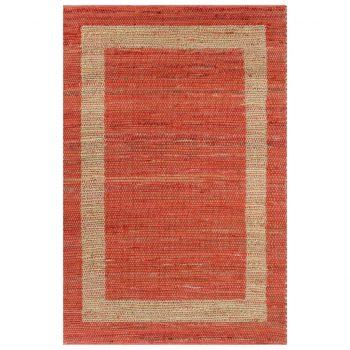 Preproga iz jute ročno izdelana rdeča 120x180 cm