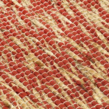 Preproga iz jute ročno izdelana rdeča in naravna 120x180 cm