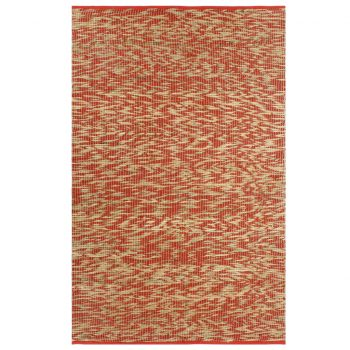 Preproga iz jute ročno izdelana rdeča in naravna 80x160 cm