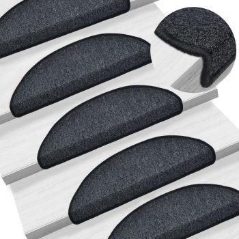 Preproge za stopnice 15 kosov 56x17x3 cm antracitne