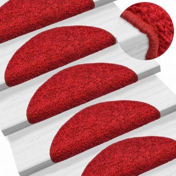 Preproge za stopnice 15 kosov 56x20 cm rdeče