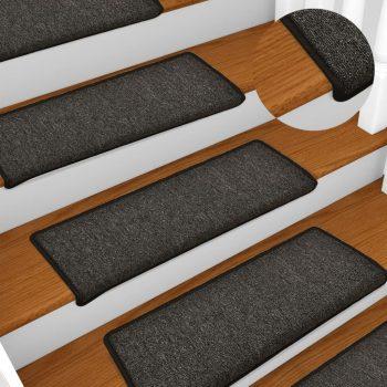Preproge za stopnice 15 kosov 65x25 cm antracitne