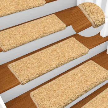 Preproge za stopnice 15 kosov 65x25 cm bež
