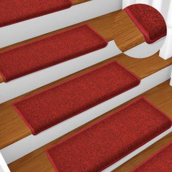 Preproge za stopnice 15 kosov 65x25 cm rdeče