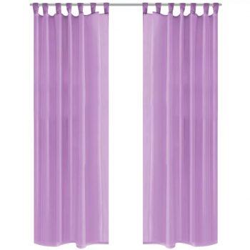 Prosojne zavese 2 kosa 140x175 cm lila barve