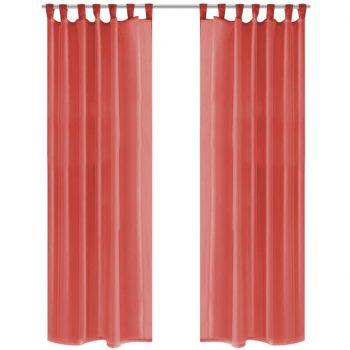 Prosojne zavese 2 kosa 140x245 cm rdeče barve