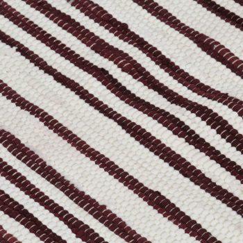 Ročno tkana Chindi preproga bombaž 120x170 cm bordo in bela