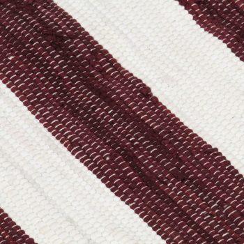 Ročno tkana Chindi preproga bombaž 80x160 cm bordo in bela