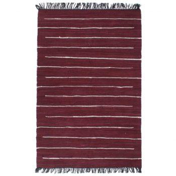 Ročno tkana Chindi preproga iz bombaža 120x170 cm bordo