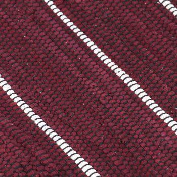 Ročno tkana Chindi preproga iz bombaža 80x160 cm bordo