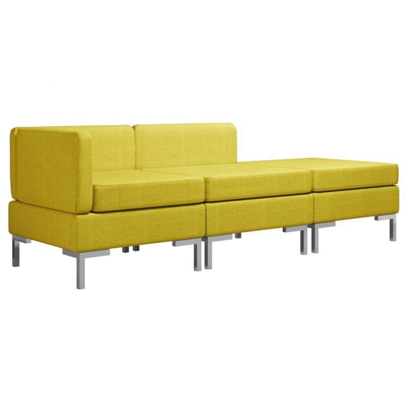 Sedežna garnitura 3-delna blago rumena