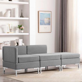 Sedežna garnitura 3-delna blago svetlo siva