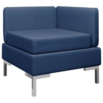 Sekcijski kotni kavč z blazino blago moder