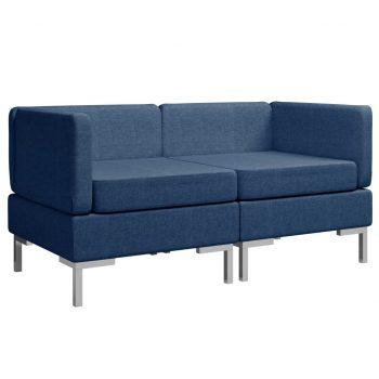 Sekcijski kotni kavči 2 kosa z blazinami blago modri