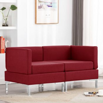 Sekcijski kotni kavči 2 kosa z blazinami blago vinsko rdeči