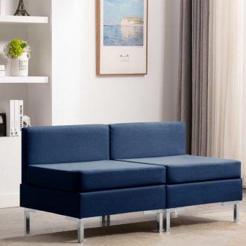 Sekcijski sredinski kavči 2 kosa z blazinami blago modri