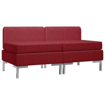 Sekcijski sredinski kavči 2 kosa z blazinami blago vinsko rdeči