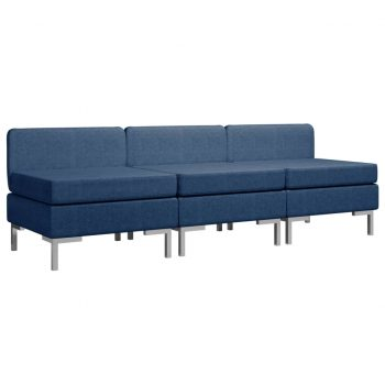Sekcijski sredinski kavči 3 kosi z blazinami blago modri