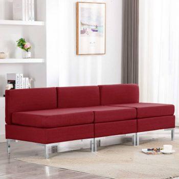 Sekcijski sredinski kavči 3 kosi z blazinami blago vinsko rdeči