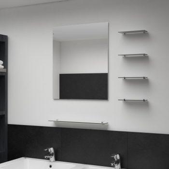 Stensko ogledalo s 5 policami srebrno 50x60 cm
