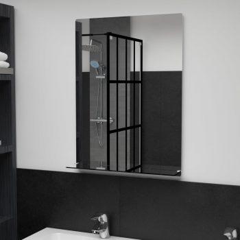 Stensko ogledalo s polico 50x70 cm kaljeno steklo
