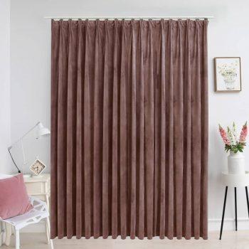 Zatemnitvena zavesa z obešali žametna antično roza 290x245 cm